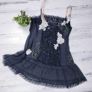 Victoria's Secret 100% Silk Black Sheer Babydoll